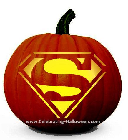 Superman Pumpkin Carving Stencil Celebrating Halloween