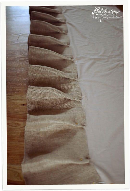 Pinned ruffles in How To Make a Ruffled Burlap Tablecloth Tutorial, How to Sew a Ruffled Burlap Tablecloth Tutorial | Celebrating Everyday Life with Jennifer Carroll | www.CelebratingEverydayLife.com