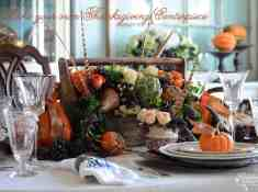 How to make your own Thanksgiving Centerpiece, pheasant feathers, fruit & vegetable centerpiece ideas, artichoke centerpiece