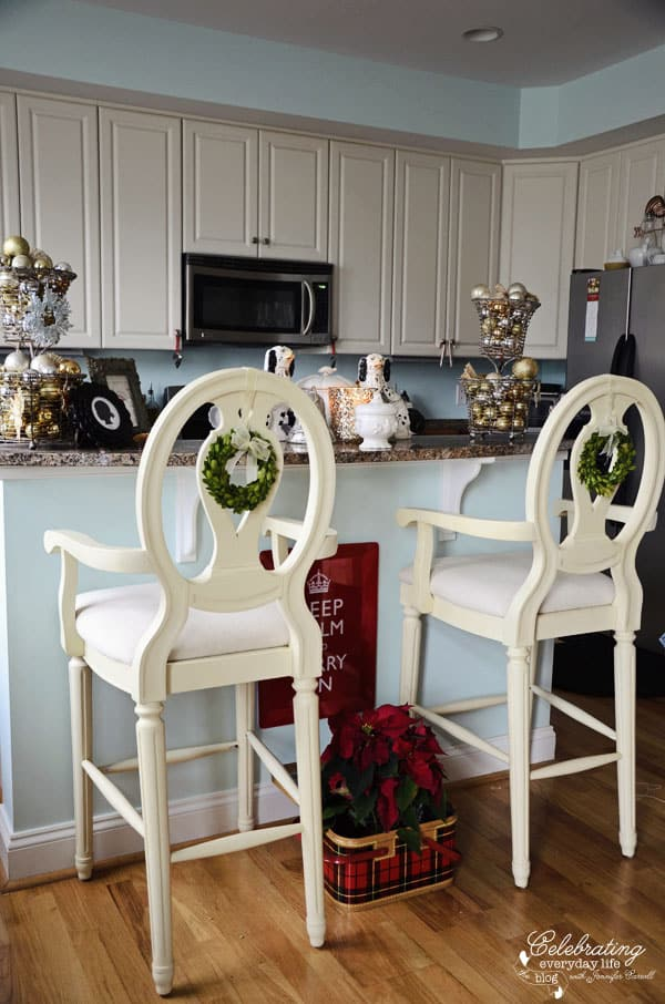 celebrating everyday life kitchen bar stools with boxwood wreaths red keep calm and carry - Christmas Kitchen Decor