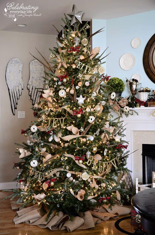 Burlap Decorated Christmas Tree