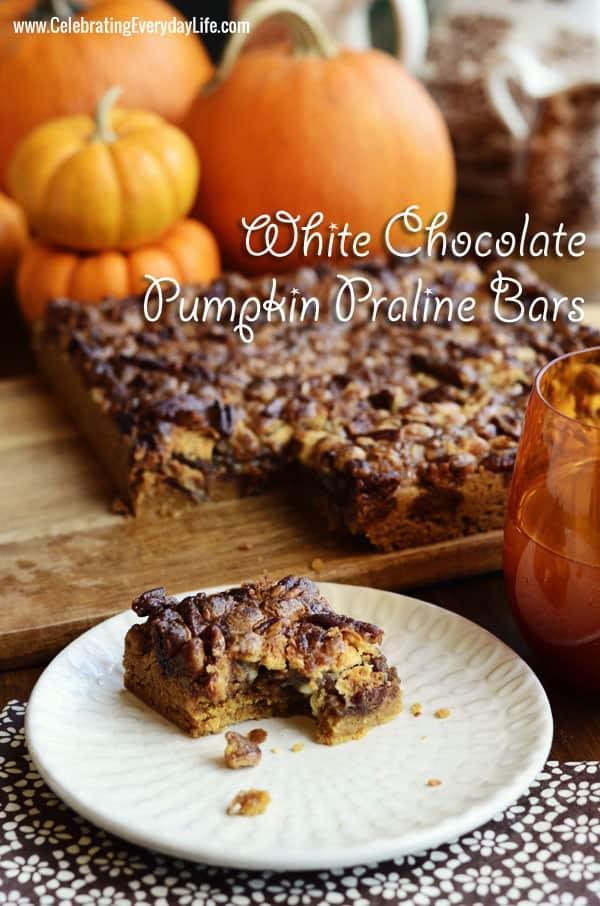 White Chocolate Pumpkin Praline Bars ~ Autumn Treat!