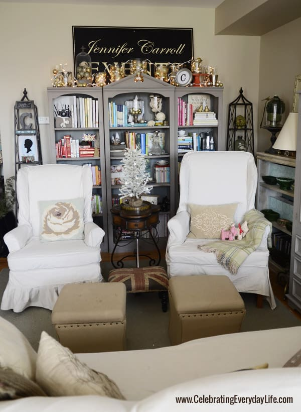 Annie Sloan Chalk Paint French Linen Bookshelves, Drop Cloth Slipcovers, Christmas in the living room, Celebrating Everyday Life with Jennifer Carroll