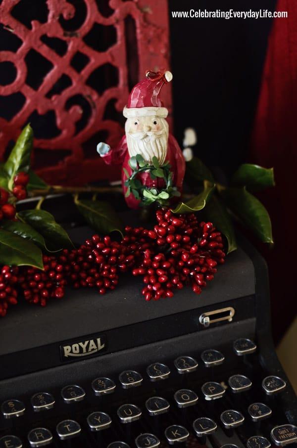 Red Santa ornament on antique Royal typewriter, Celebrating Everyday Life with Jennifer Carroll