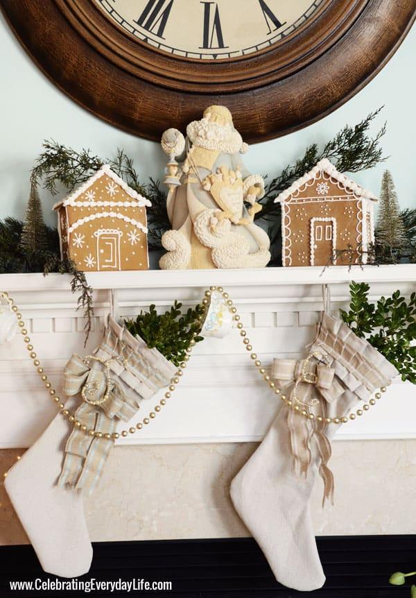 Christmas Mantel, Cream Christmas Mantel, Drop cloth Stockings, Blue & White Santa, Celebrating Everyday Life with Jennifer Carroll