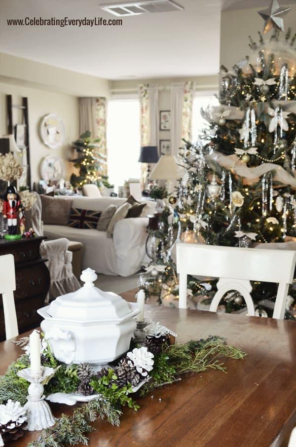 Christmas Farm Table, Green and Cream Christmas Tree, Celebrating Everyday Life with Jennifer Carroll