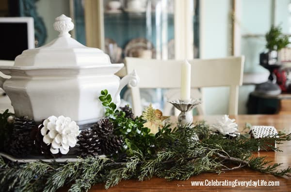 Natural Greenery Centerpiece with Ironstone tureen, Celebrating Everyday Life with Jennifer Carroll