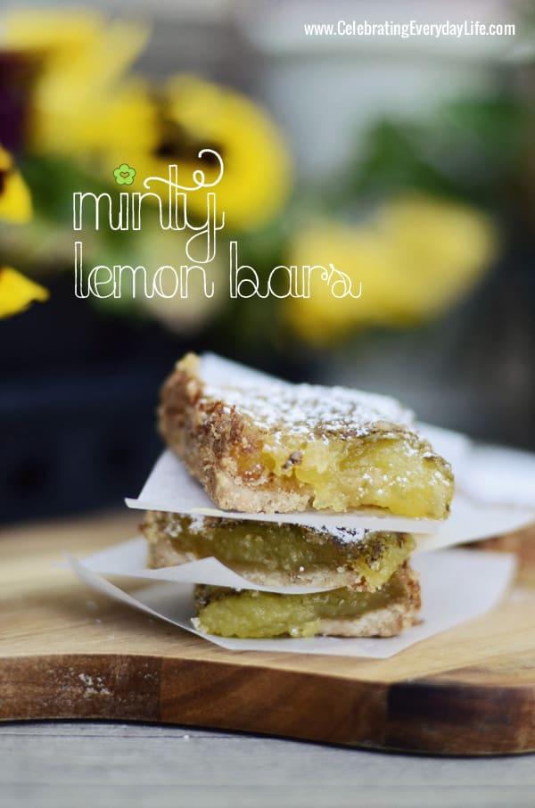 Minty Lemon Bars recipe, Celebrating Everyday Life with Jennifer Carroll