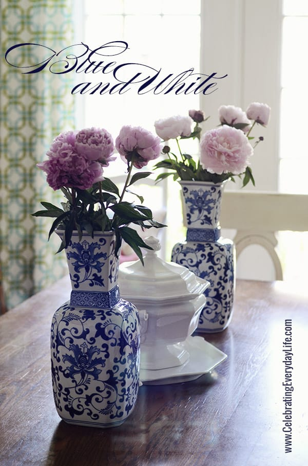 Summer Dining Table Decor Touches Of Blue & White On My Dining Room Table {summer