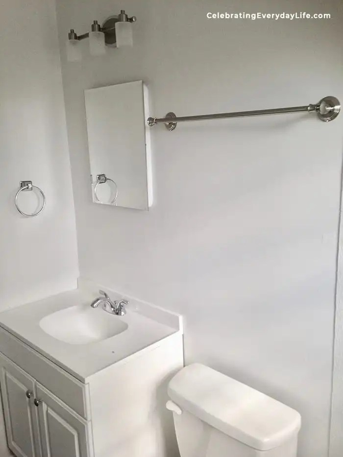 plain gray and white bathroom vanity before home staging