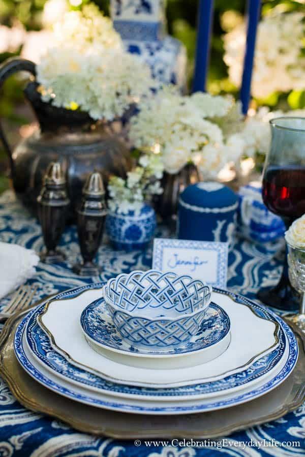 A Blue  White Garden Tablescape  Celebrating Everyday