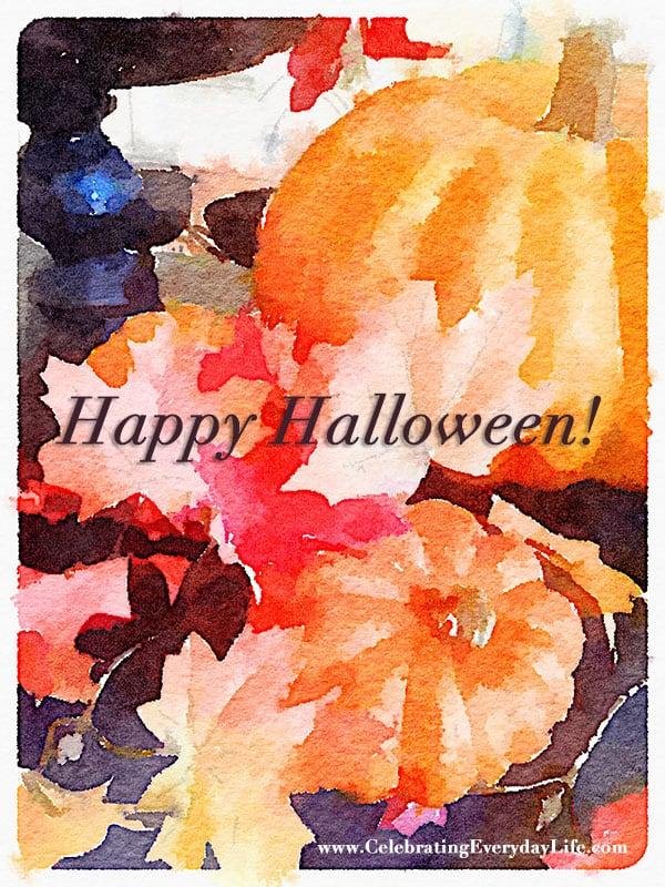 Happy Halloween Watercolor Printable Art