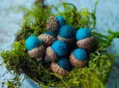 DIY Felt Acorn, Make your own felt acorn, Felt Acorn DIY, Easy fall crafts, simple fall craft, Turquoise blue acorns, handmade acorns, Celebrating Everyday Life with Jennifer Carroll