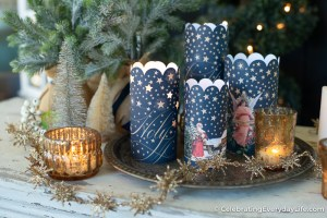 navy and gold star Christmas candle wraps