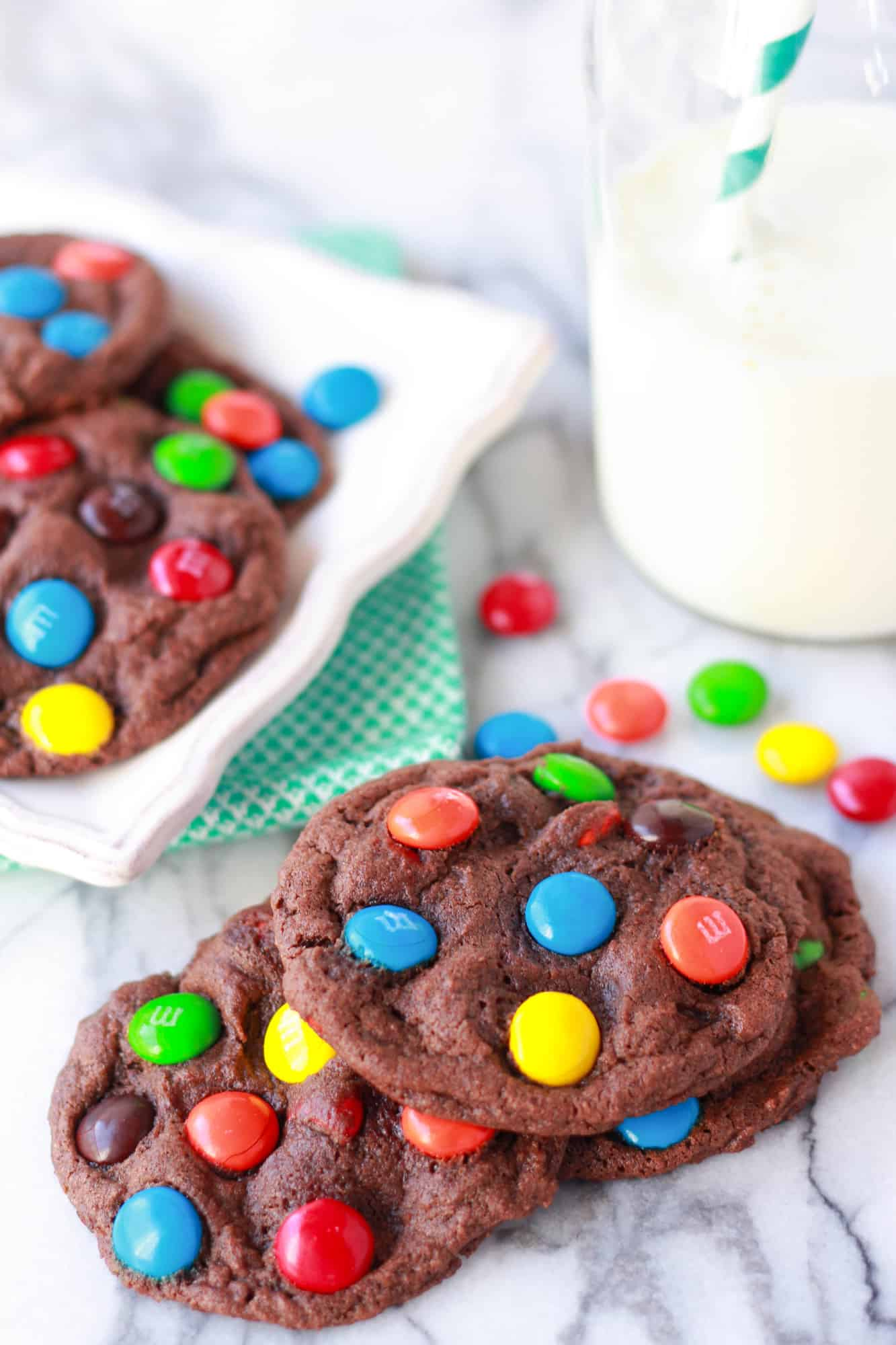Chocolate M&M Cookies - Celebrating Sweets