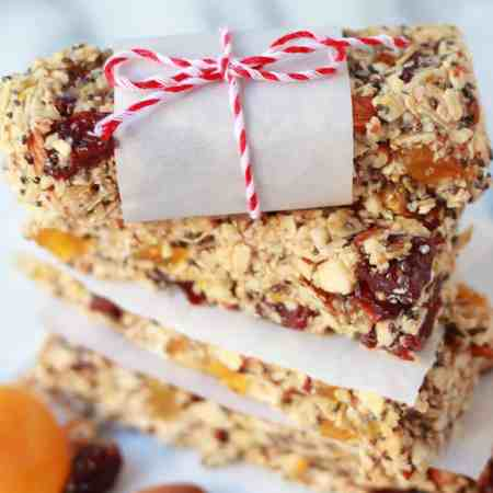 Chewy No-Bake Granola Bars - Filled with nuts and dried fruit
