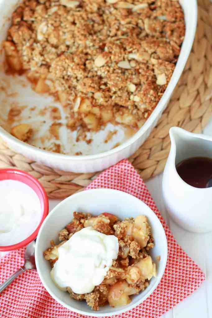 breakfast fruit crisp made up of tender, cinnamon spiced apples ...