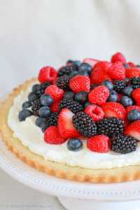 Berries and Cream Tart with Cookie Crust - A beautiful summer dessert featuring red, white, and blue colors