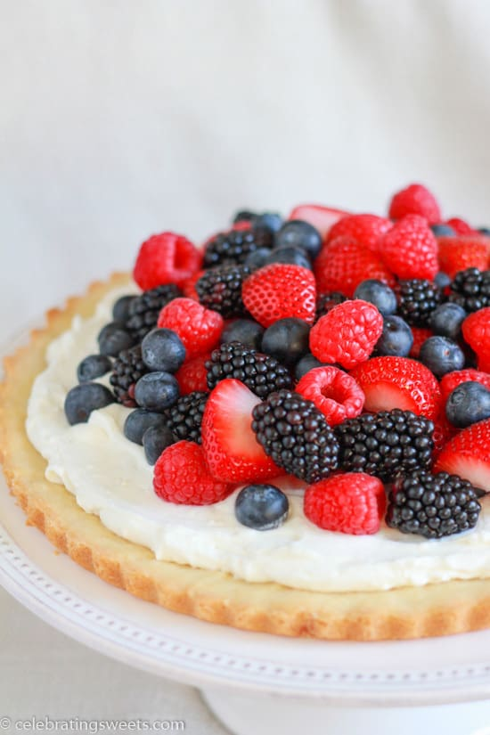 Berries and Cream Tart with Cookie Crust - A beautiful red, white, and blue summer dessert