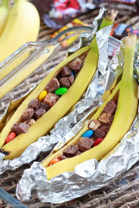 Candy Bar Banana Boats