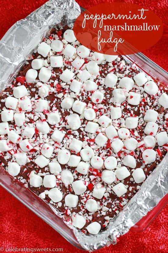Peppermint Marshmallow Fudge 2 - Celebrating Sweets
