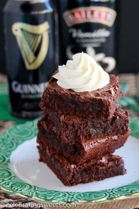 Guinness Brownies with Irish Cream Frosting - Fudgy brownies made with Guinness and topped with Irish cream frosting. Perfect for St. Patrick's Day!