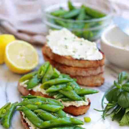 Snap Pea and Ricotta Bruschetta