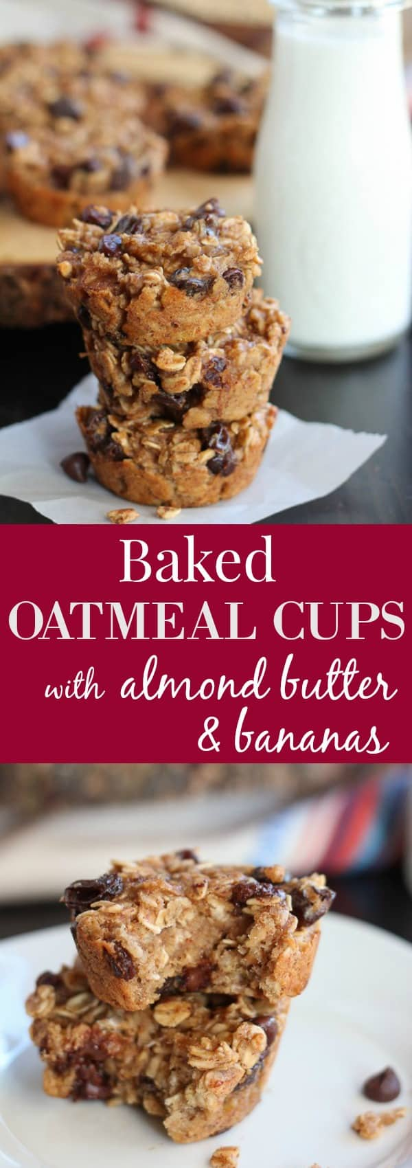 Baked Oatmeal Cups with Almond Butter and Bananas
