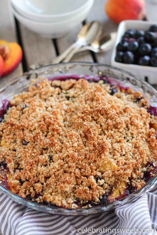 Gluten-Free Blueberry Peach Crisp with Coconut-Almond Topping