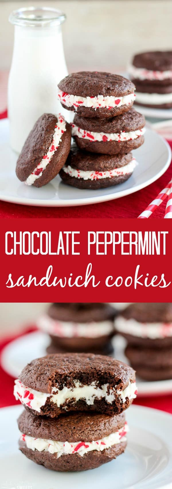 Chocolate Peppermint Sandwich Cookies - Soft chocolate cookies sandwiching peppermint frosting and rolled in crushed peppermint candies. A festive cookie for the holidays!