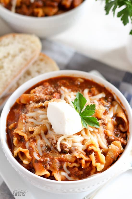 Lasagna Soup - A hearty and comforting soup made in one pot in under an hour, filled with all the flavors of lasagna!