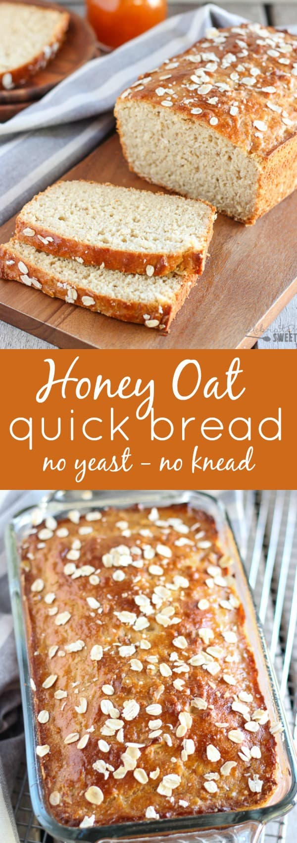 Honey Oat Quick Bread - No yeast, no knead, ready in an hour!