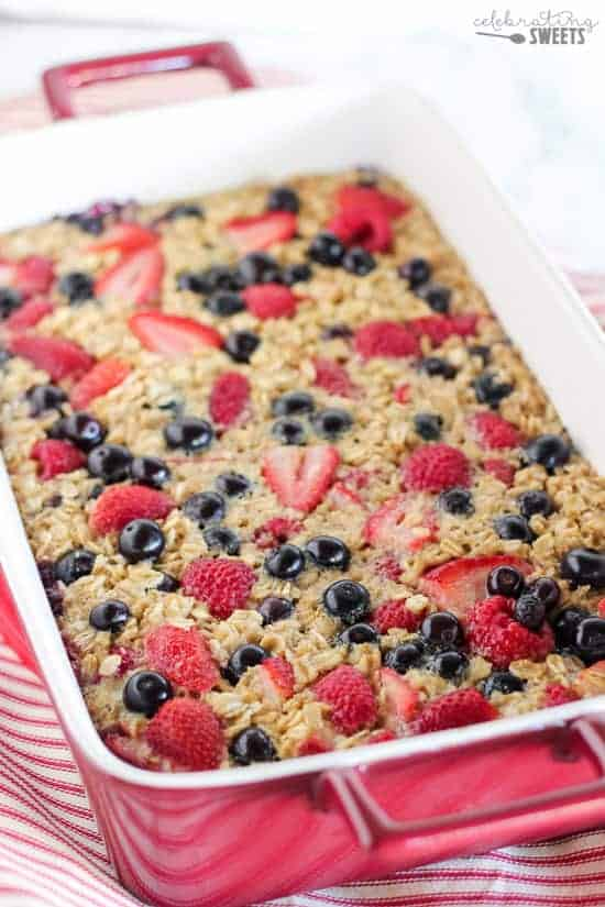 Mixed Berry Vanilla Baked Oatmeal - This easy baked oatmeal is filled with oats, maple syrup, fresh berries and fragrant vanilla. It's the perfect make-ahead breakfast for busy mornings. Bake it in advance and reheat portions as needed.