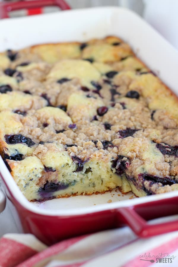 """Blueberry Buttermilk Pancake Casserole - Thick and fluffy baked buttermilk pancake casserole filled with fresh blueberries and topped with a brown sugar crumble. The easiest and tastiest """"pancake"""" you'll ever eat!"""