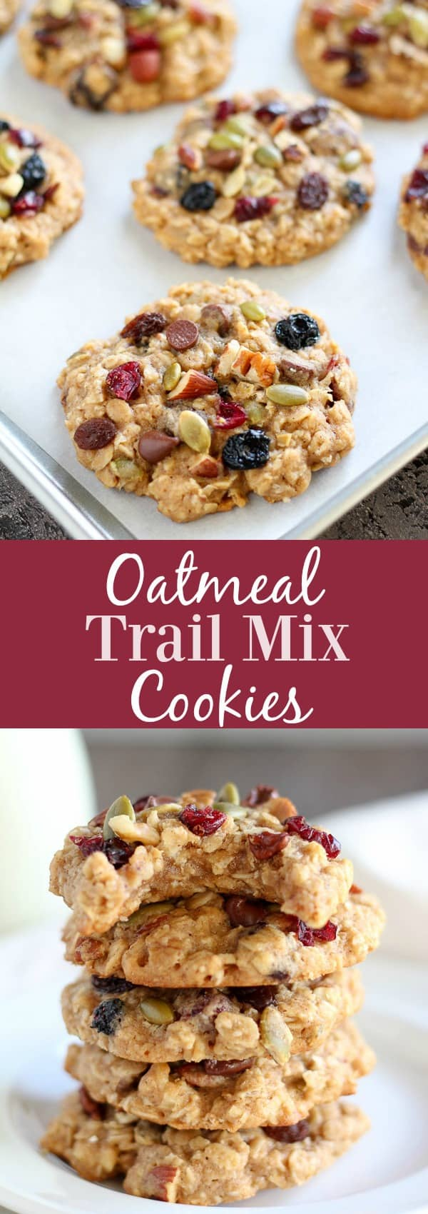 Oatmeal Trail Mix Cookies - Healthier oatmeal cookies that are soft and chewy, sweetened with honey, and filled with your favorite trail mix. A wholesome and delicious treat for lunchboxes, snacking, or dessert.