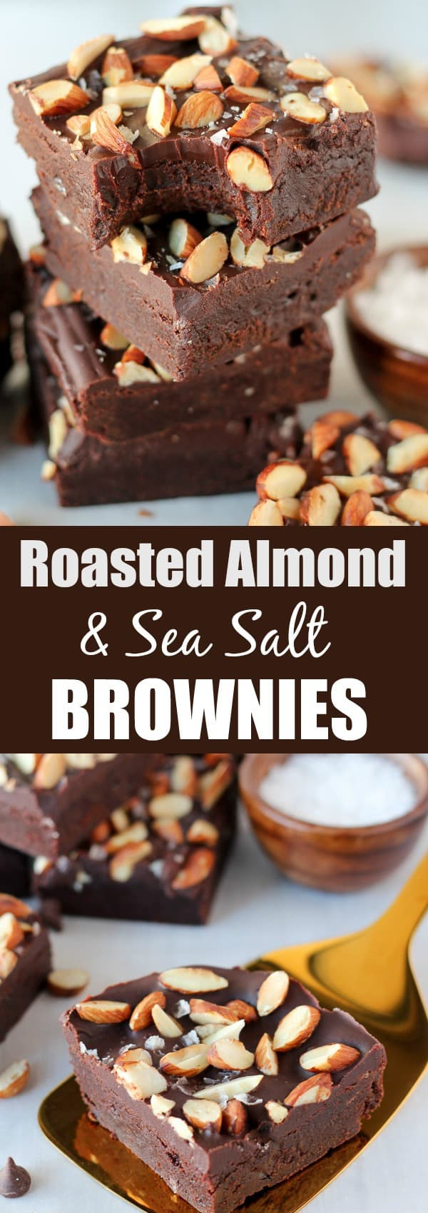 Roasted Almond and Sea Salt Brownies - Fudgy brownies topped with a creamy chocolate ganache and a generous sprinkling of roasted almonds and flaked sea salt. Sweet and salty perfection!