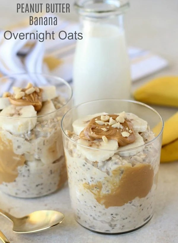 Peanut Butter Banana Overnight Oats - An easy, no-bake recipe for creamy oats flavored with peanut butter, bananas and maple syrup.