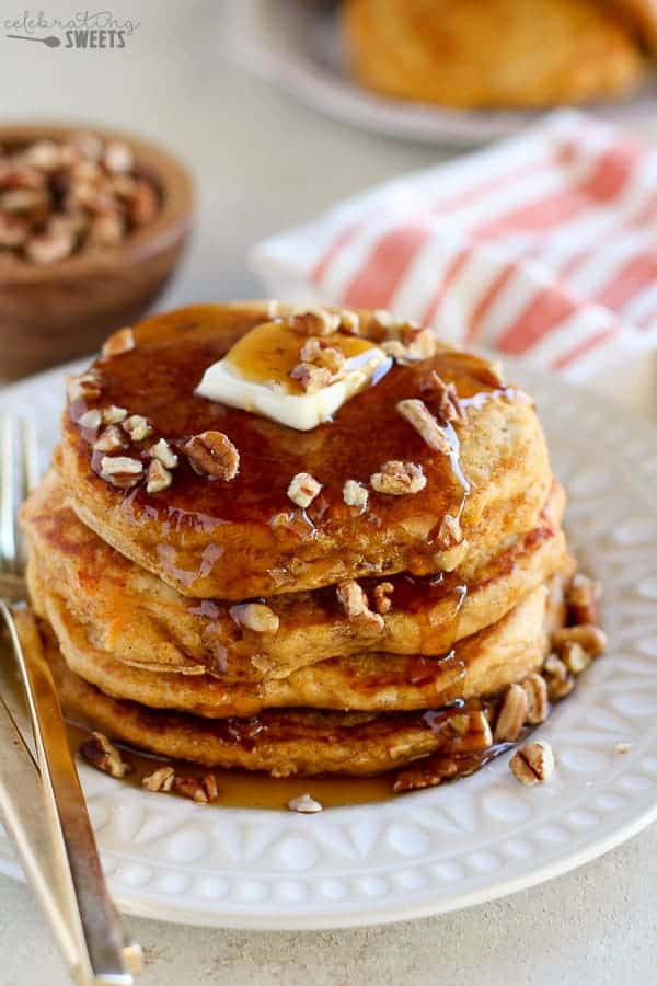 Sweet Potato Pancakes - Slightly sweet, delicately spiced, thick and fluffy Sweet Potato Pancakes. A hearty and comforting fall breakfast.
