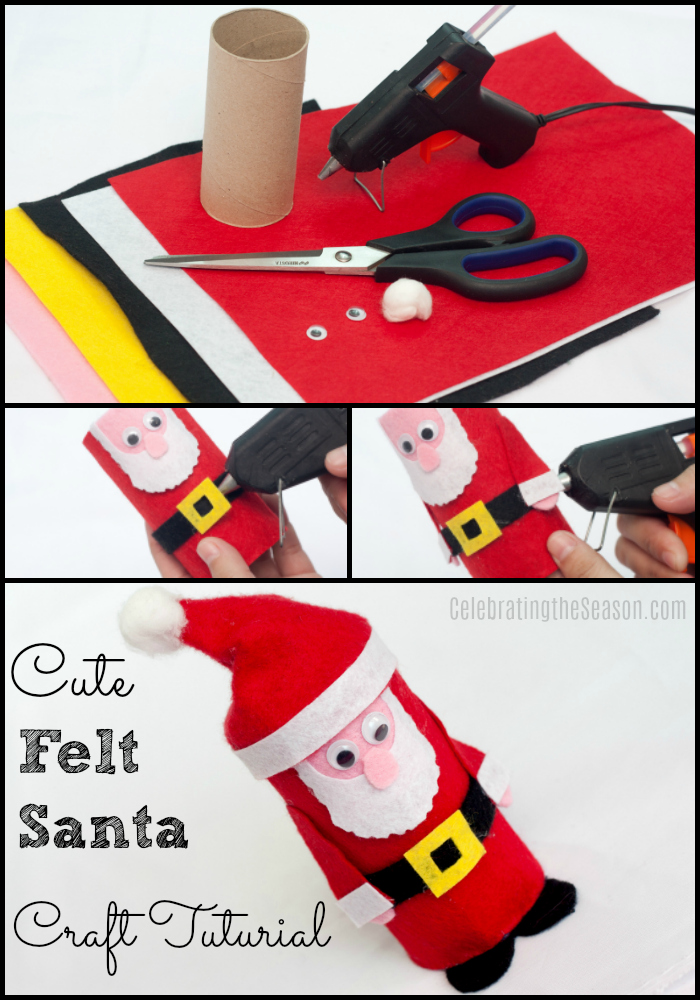 Christmas craft tutorial for a cute felt Santa toilet paper roll craft.