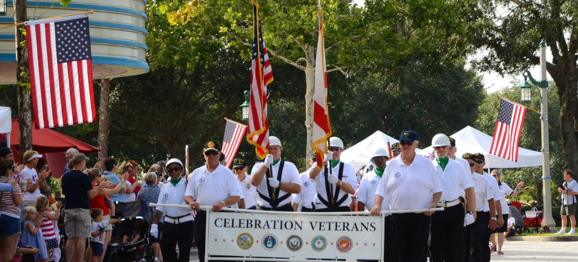 Veterans Club marching in parade