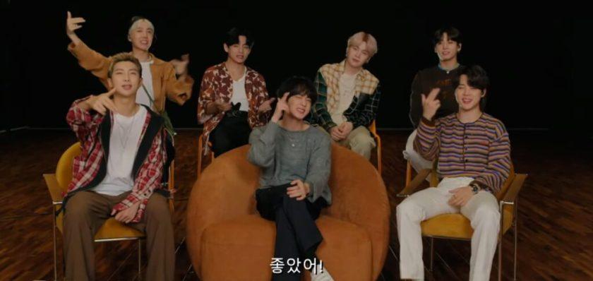 BTS durante su entrevista con Chris Martin.