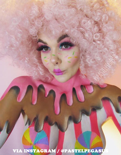 Candy Makeup Pink Afro Wig