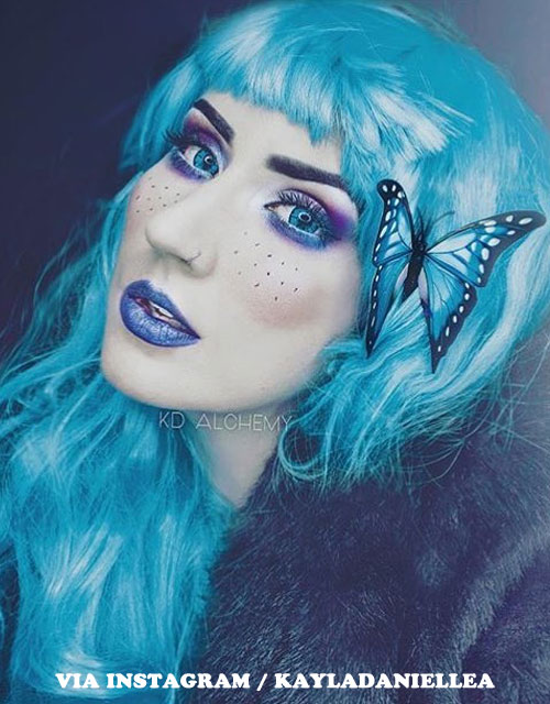 BUTTERFLY MAKEUP BLUE HAIR