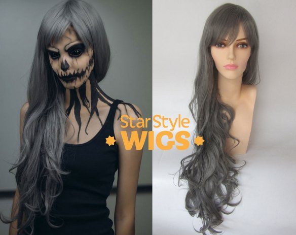 Long Grey Skeleton Costume Wig