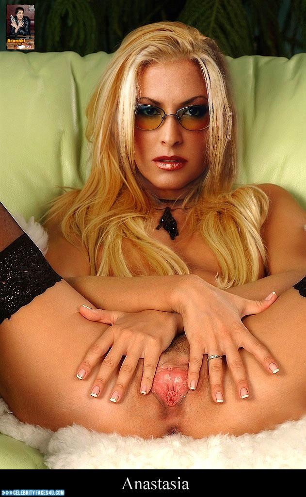 Anastacia Fake, Blonde, Glasses, Horny, Lipstick, Pussy, Pussy Spread, Tight Pussy, Porn