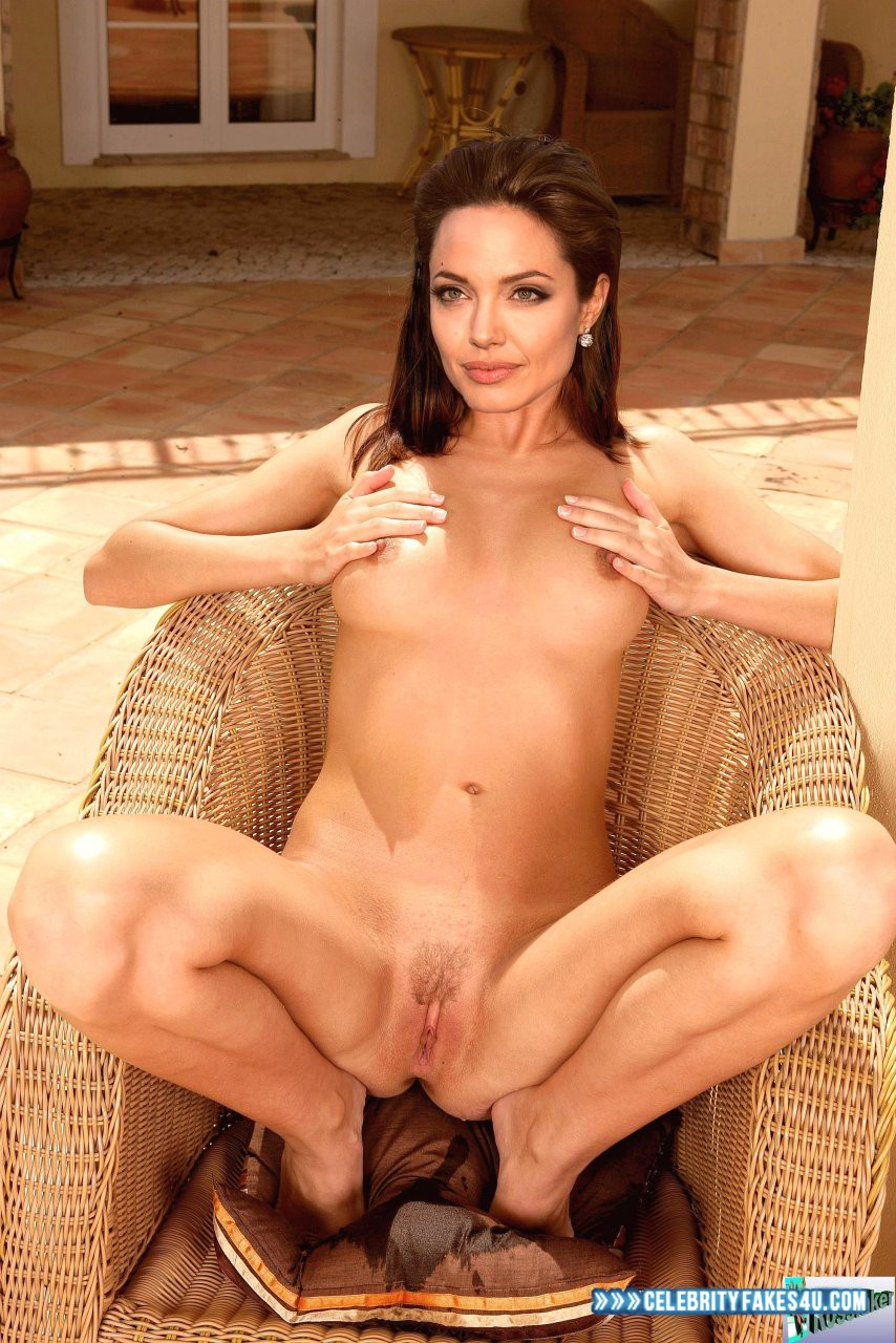 Angelina Jolie Fake, Horny, Legs Spread, Pussy, Squeezing Breasts, Tits, Porn