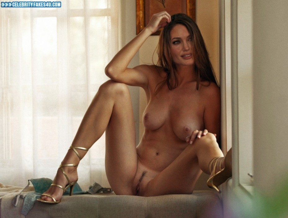 Angelina Jolie Fake, Legs Spread, Nude, Pussy, Tits, Porn