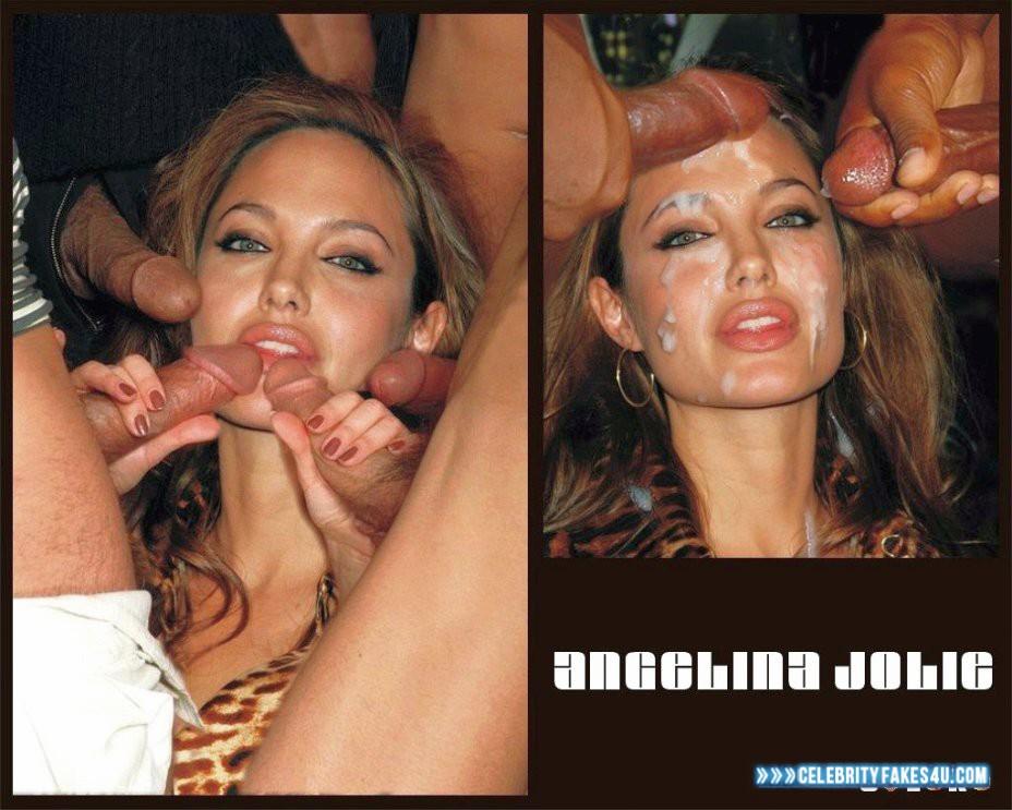 Angelina Jolie Fake, Blowjob, Cum Facial, Cumshot, Gangbang, Sex, Porn