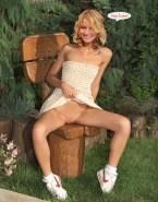 Becki Newton Vagina Upskirt Outdoors 001