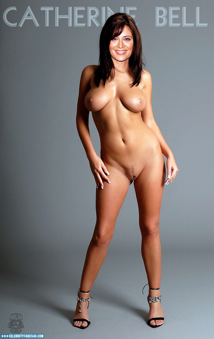Catherine Bell Fake, Completely Naked Body / Fully Nude, Heels, Sexy Legs, Tits, Porn
